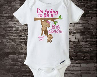 Big Cousin Shirt or Onesie - Personalized Big Cousin Monkey Shirt - with Due Date - I'm Going to Be A Big Cousin Bodysuit 01072014a1