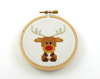 Rudolph the red nosed reindeer cross stitch pattern, Christmas pattern, reindeer pdf pattern, reindeer pattern, xmas cross stitch