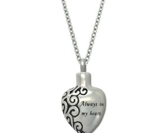 Always In My Heart Ashes Holder Urn Jar Cremation Necklace