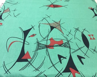 """SALE - 1993 Full Swing Abstract """"Haley's Comet""""//Collector Piece//Vintage Linen blend//Swirling Black & Red Boomerangs on Mint Green Ground"""