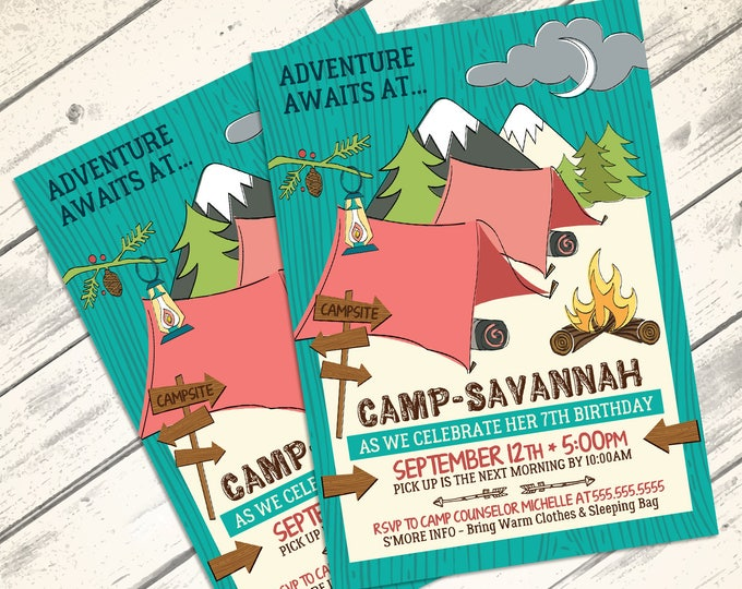 Glamping Party Invitation - Camping Birthday Party, Woodland, Camping, Fishing  | DIY INSTANT Download PDF Printable