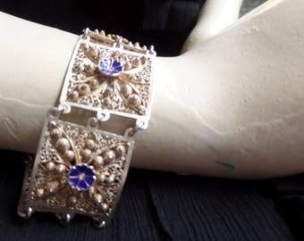 Vintage 1970 Filigree and Enamel Bracelet