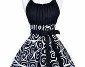 Flirty Chic Retro Apron - Womens Black Swirls Sexy Pinup Kitchen Apron with Pockets (DP)