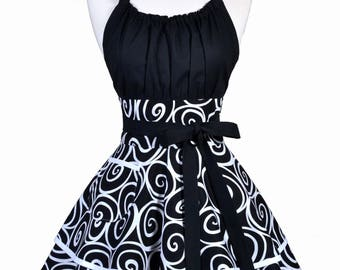 Womens Flirty Chic Apron - Sexy Black and White Swirls Cute Retro Vintage Style Pinup Kitchen Cooking Apron with Pockets (DP)