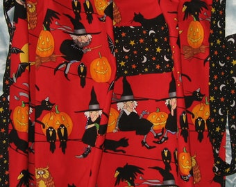 JKW Halloween Knitting Witch Cats Crows Half APRON with Pocket and White Lace Ruffle