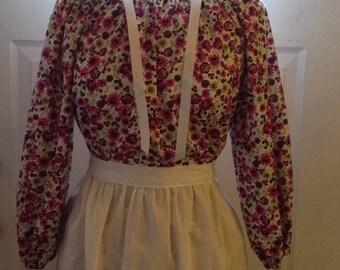 Ready to Ship Girls Colonial Dress Costume Civil War Pioneer Prairie Dress Apron and Bonnet