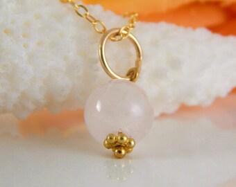 Rose Quartz Charm in 14k Gold Fill - Pink Gemstone Pendant - Add A Charm ~ AdoniaJewelry
