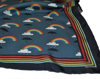 Rainbow Silk Pocket Square / Rainbow Pocket Square / Rainbow Neckerchief / Silk Scarf / Silk Pocket Square / Wedding Accessory