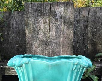 Mid Century McCoy Pottery Jardiniere, Aqua blue color, rectangular planter box