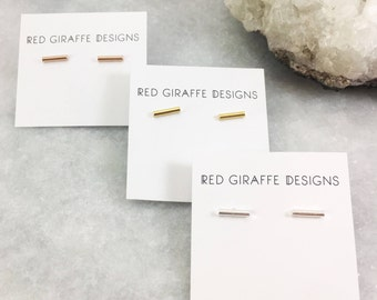Simple Bar Studs | Minimalist Design | Sterling or Plated Sterling