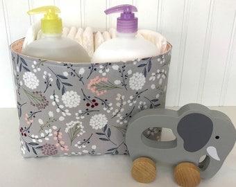 Organizer Storage Bin,Basket,Bin,Nursery Decor,Diaper Storage,Fabric Bin,Fabric Basket,Home Decor,Flowers,Gray,Coral Pink,Blush,Grey