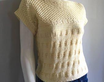 Vintage Women's 80's Yellow, Sleeveless Sweater, Knit Top by Kroshetta (S)