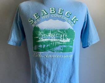 Vintage Men's 90's T Shirt, Light Blue, Short Sleeve (XL)