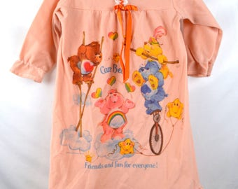 KIDS SIZE 1980s 80s Original Care Bears Girl's Nightgown Nightie - Size 2 T