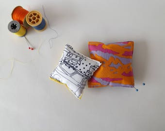 Recycled Fabric Swatch, Scrap and Offcut Pin Cushion with Eco Friendly Wadding, Bright Camoflage or Car Print.