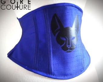Sample READY TO SHIP - Dark Blue Purple Silk with Black Feline 20 inch Underbust Steel Boned Corset Cincher