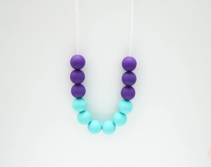 Ivy Silicone Beaded Sensory Mint and Purple Necklace.