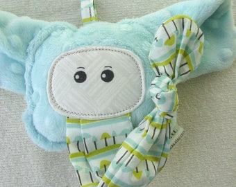 Elephant Rattle Plush - Knotted Trunk - Minky and Cotton - Organic Cotton - Attachable Toy