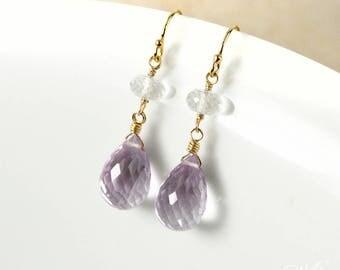 Gold Pink Amethyst Teardrop Earrings - Amethyst Dangle Earrings - Crystal Quartz Bead, 14Kt GF