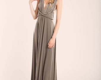 Taupe bridesmaid dress, Taupe long dress, pale brown infinity dress, long light brown dress, brown infinity dress, long dress, taupe dress