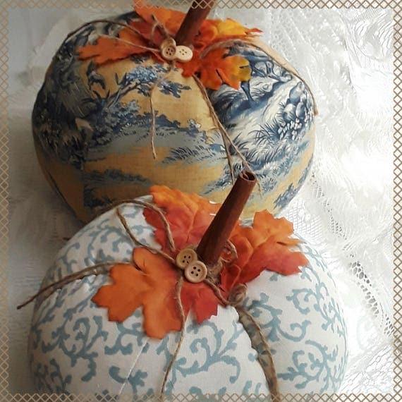 Stuffed Autumn Fall Pumpkins Pair, Blue Toile On Gold, Blue Scroll On White Cotton, Farmhouse Table or Shelf Decor