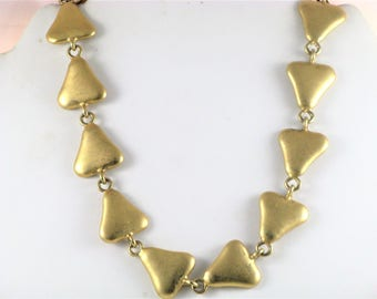 Vintage Erwin Pearl Matte Gold Tone Triangles Choker Necklace (N-2-3)