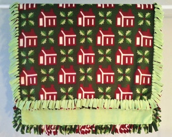 Fleece Blanket - Hand-Tied Fringe Throw - Holiday Theme - Christmas Log Cabins With Holly And Berries