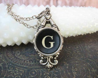 Typewriter Key Jewelry - Typewriter Necklace - Letter G  - Typewriter Charm - Vintage Key - Ornate Drop