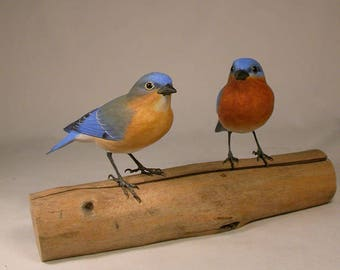 Pair of Eastern Bluebird male and female Hand Carved Wooden Birds