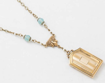 Locket Necklace, Antique Edwardian Locket in Gold Filled with Blue Opal & Genuine Pearl Book Locket, Vintage Jewelry,  Womens Gift