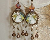 Girl with unicorn pictorial vintage style earrings by Pamelia Designs