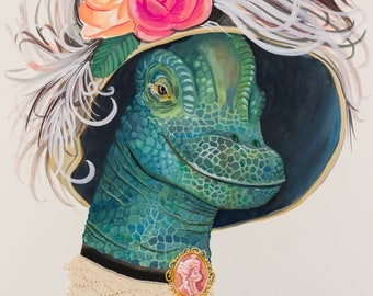 "Art Print- ""Lady Ponsonby""- old fashioned lady dinosaur with feathered hat and cameo"