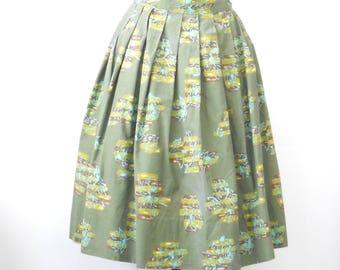 Vintage Mid Century Skirt • Osgoods Sportswear • Green Olive Aqua Skirt