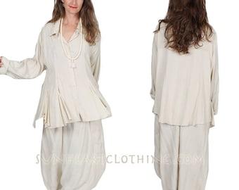 Sunheart Taos Ruffle Shirt Blouse Oatmeal Top Boho Hippie Chic Resort Wear Casual Womens Wear Sml-2x