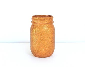 Copper Glittered Pint Mason Jar, Flower Vase, Pen and Pencil Holder