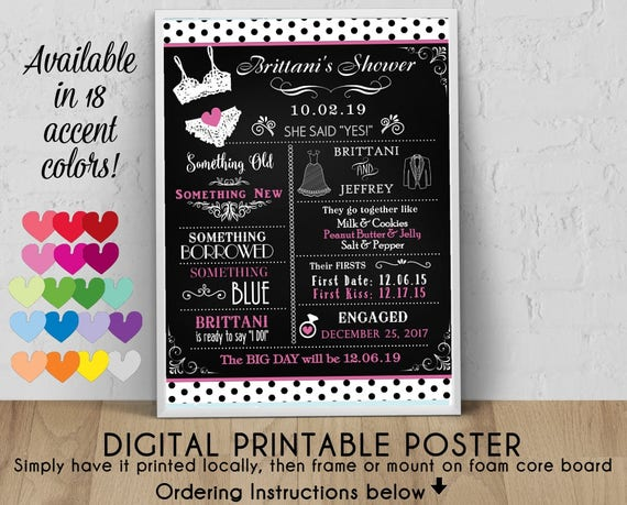 Digital Personalized Bridal Shower Poster 8 X 10 11 X 14 16 X 20