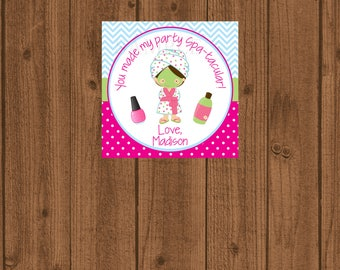 Spa Tags, Spa Party Tags, Spa Party Printable, Spa Day Birthday, Spa Thank You, Spa Party, Spa Party Favors, Spa Printable, Kids Spa Party