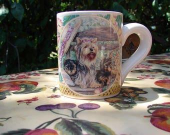 Yorkie Mom and Pups on a Garden Bench on an Elegant Ceramic Coffee Mug