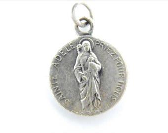 Rare French Vintage Saint Adele - St Ghislain Catholic Medal -  Religious Charm - Rosary Supplies - St Medallion - Y91
