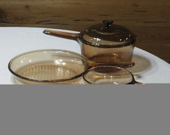 Vintage Corning Visions Amber 5 Pc. Set