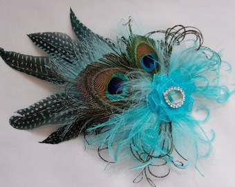 Pale Turquoise Aqua Blue Rustic Country Style Peacock Feather & Crystal Fascinator Percher Hat - Royal Ascot Wedding - Ready Made