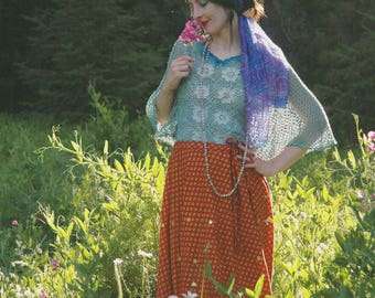 Crochet Top / Crochet Shirt / Cotton / 70s Vintage /Folk / Gypsy / Boho / Hand Dyed / OOAK / Festival Clothing