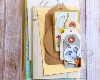 Junk Journal Ephemera Pack / Botanical / Tags / Envelopes / 20 Pieces / DIY Kit / Vintage Ephemera / Paper Ephemera