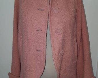 Vintage 1940s Pink Boucle Swing Coat