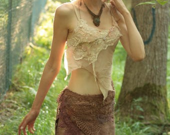 Summer dawn mushroom dyed tattered forest faerie pixie clothing