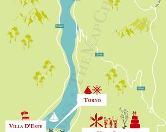 Custom Wedding Map with Itinerary --Invitation--Save the Date -- Gift Bag-- Lake Como, Italy
