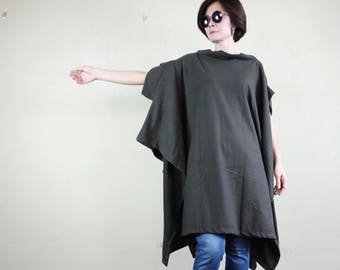 Chic Modern Casual Oversize Short Sleeve Dark Charcoal Brushed Cotton Mix Polyester Cocoon Cape Cloak Poncho Women Outerwear P317