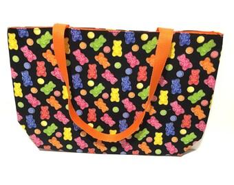 Tote Bag, Gummy Bear Tote, Gummy Bear, Gummi Bear, Gift, Under 20 dollars, Teachers Bag, Candy Bag, Weird, Kawaii, Glitter
