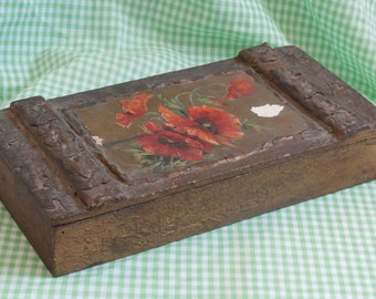Vintage Poppy Design Wooden Box with Hunt Scene inside, Antique Trinket or Jewelry Container Poppies Flowers