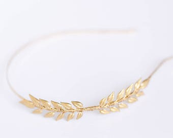 Little Leaves - A Golden Leaf Headband, Bridal, Wedding, Bridesmaid, Hair accessory, simple, under 30, gift, crown, clip, comb, barrette